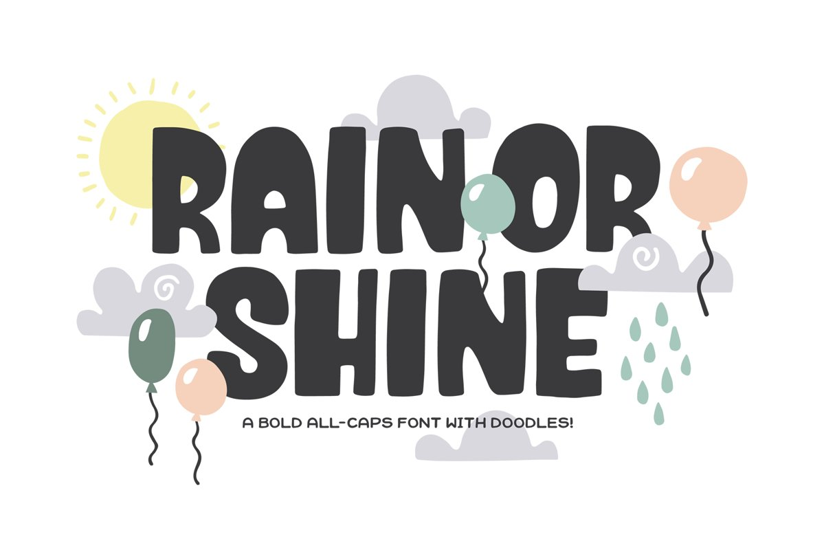 Rain or Shine Font & Doodles! example image 1