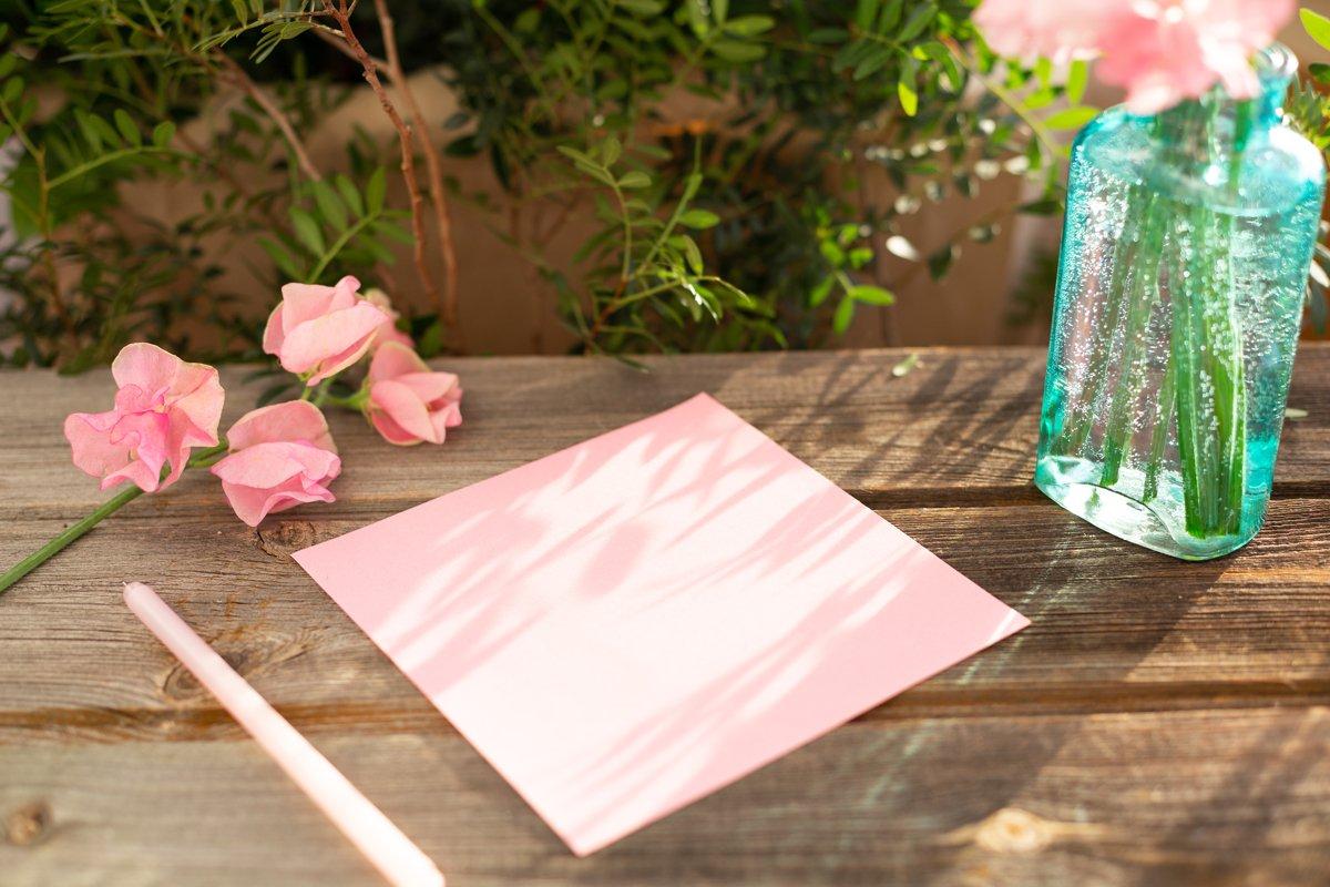 Pink sweet peas Lathyrus flowers in vase.Pen,note list, love example image 1