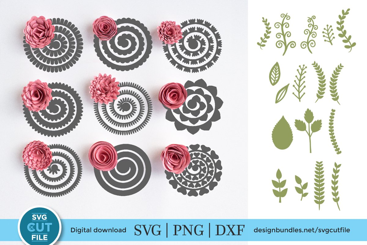 Rolled paper flowers SVG -9 rolled flower templates & leaves example image 1