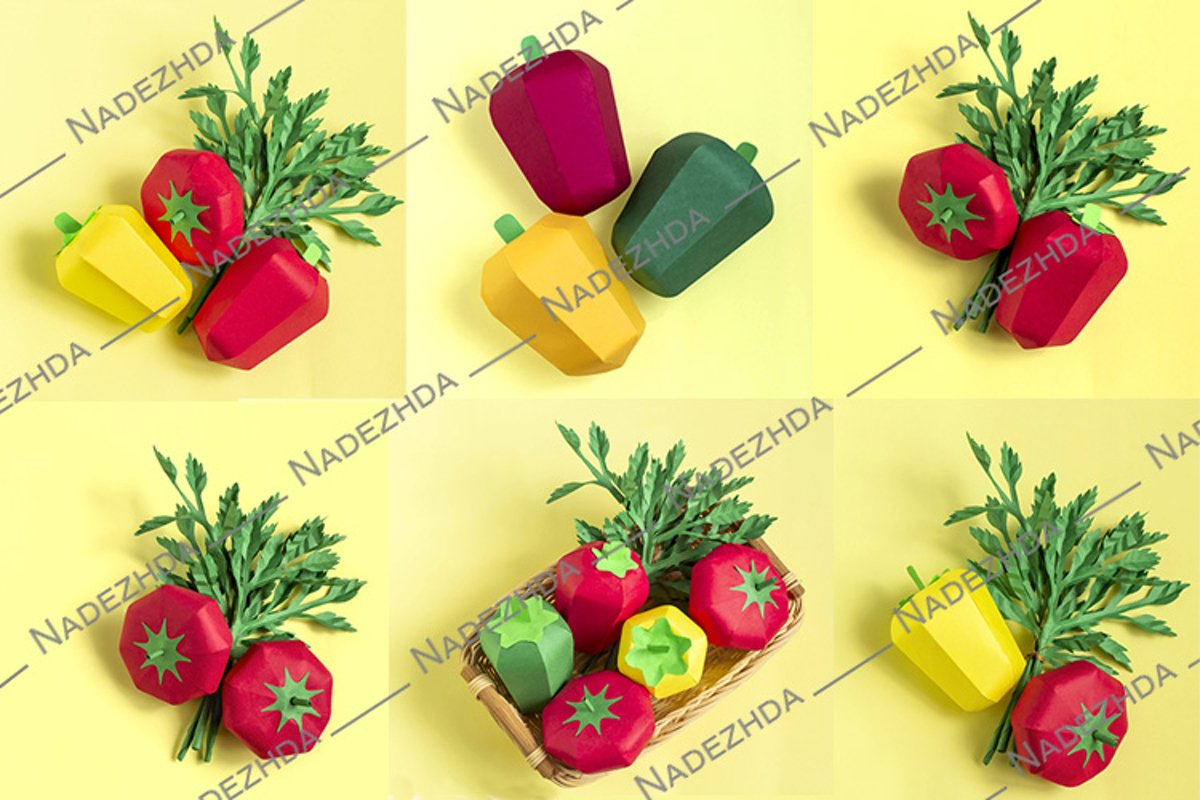 Paper tomatoes, peppers and parsley example image 1