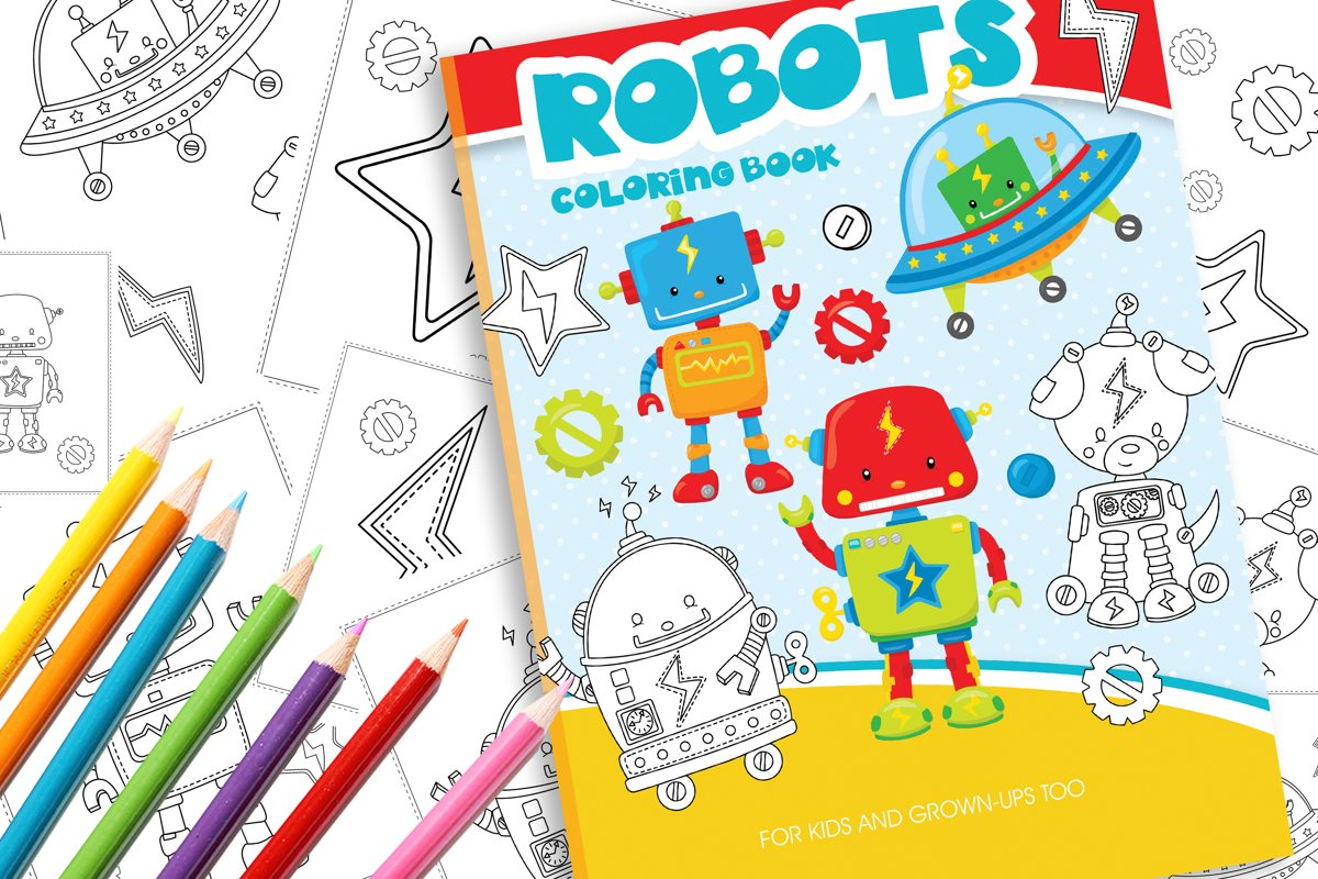 Robots friends Coloring Book example image 1