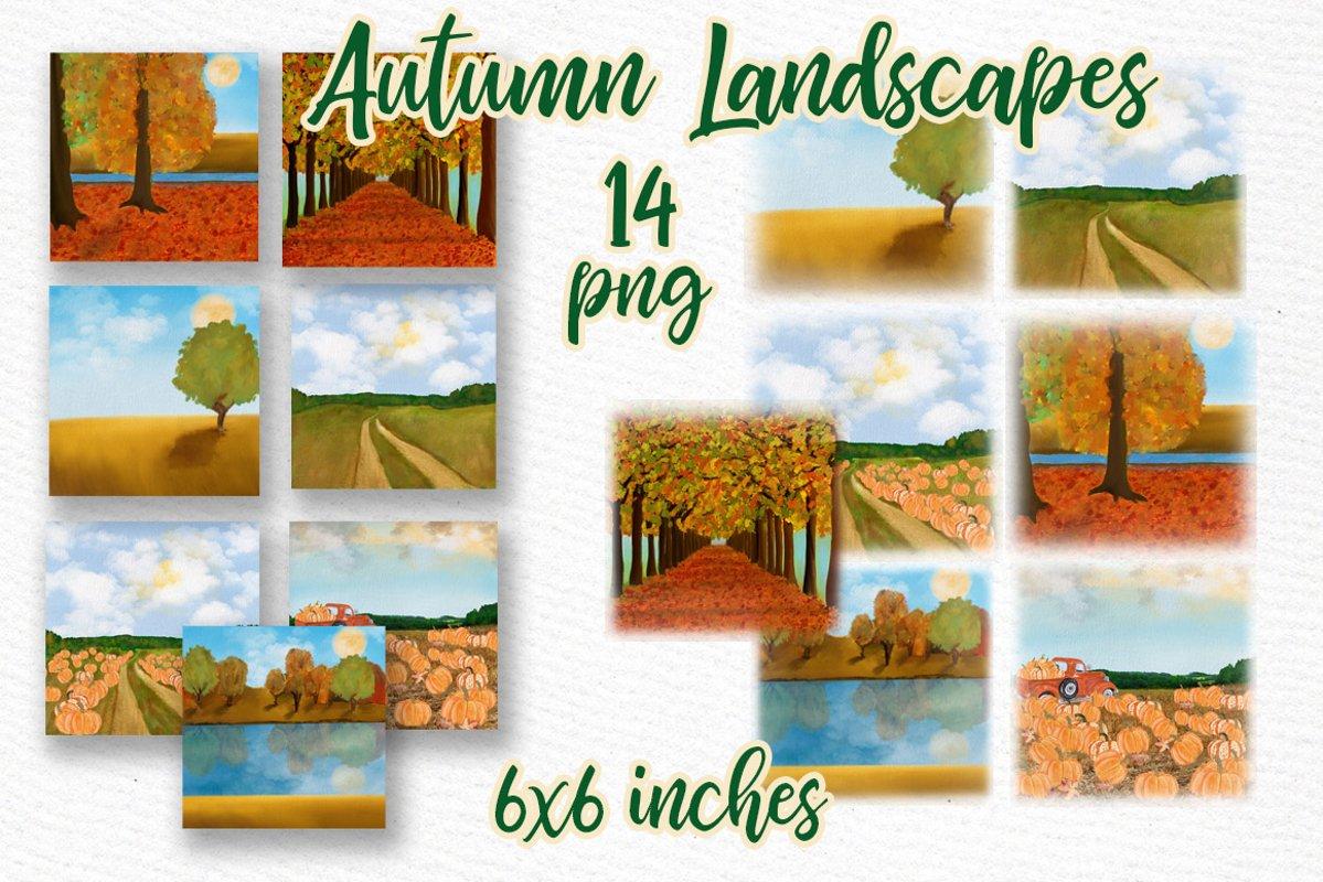 Autumn backdrop Fall landscape Thanksgiving backdrop scenery example image 1