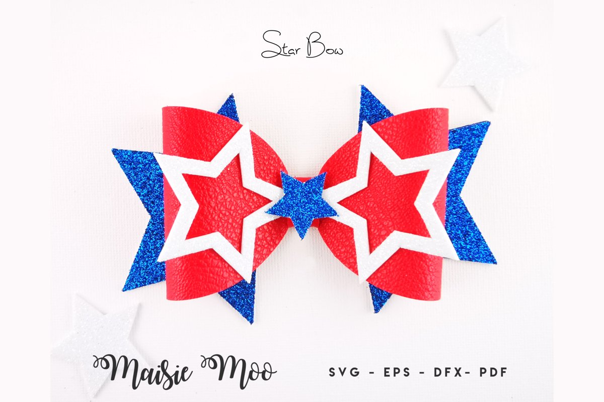 Star Bow Template SVG, 4th July Bow SVG, USA Red White Blue example image 1