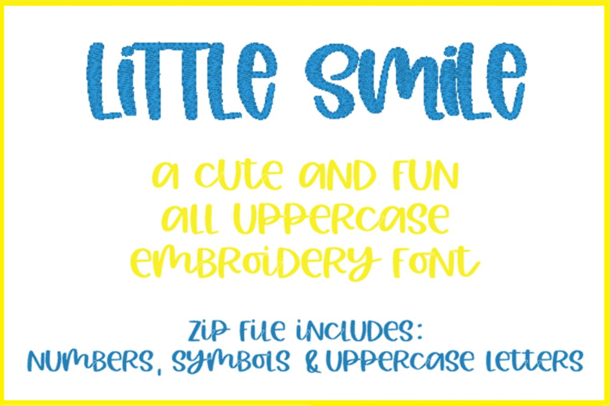 Little Smile Embroidery Font example image 1