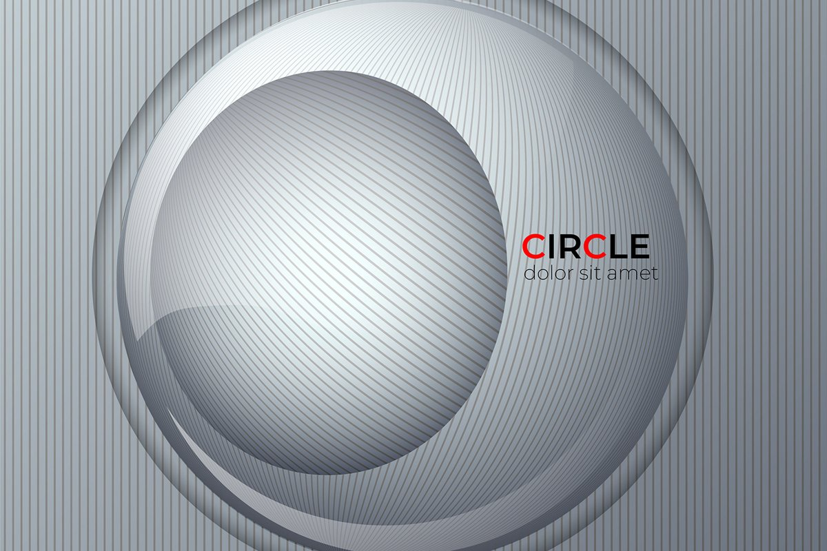 Background on radial gray lines. Abstract circle design 3D example image 1