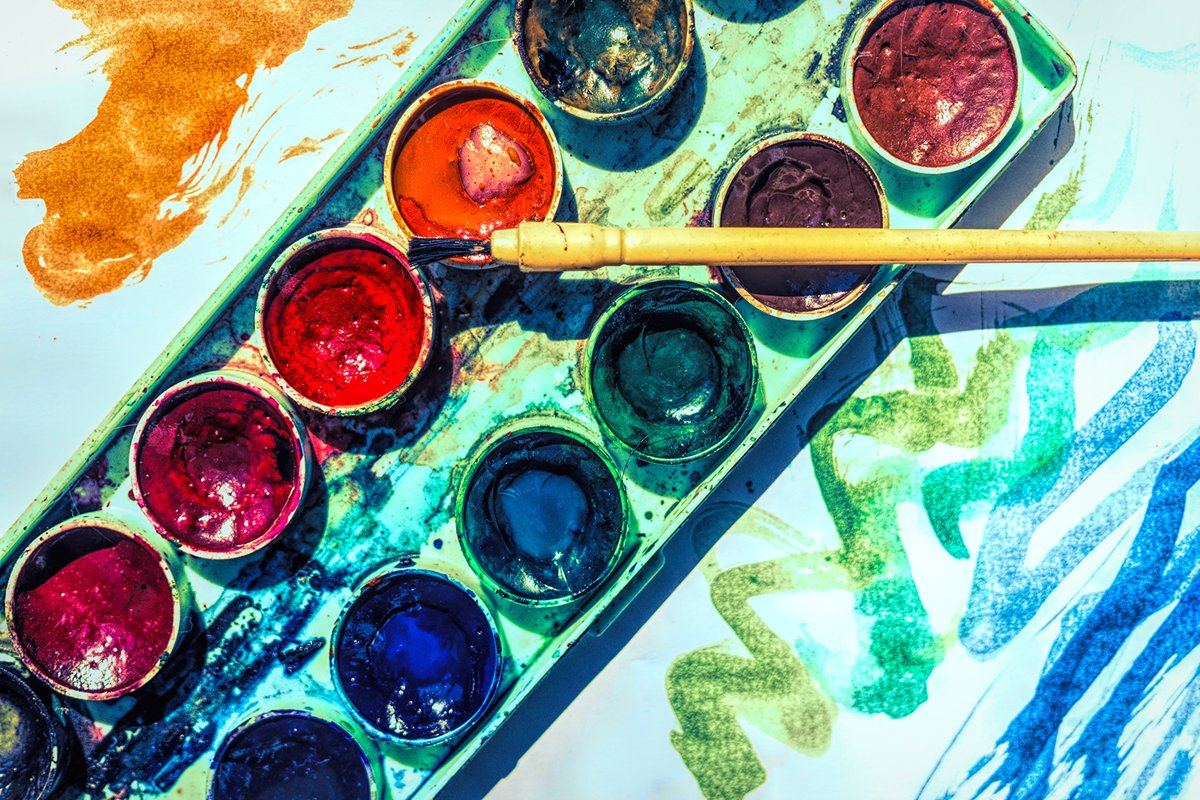 Sheet of paper and old watercolor paints example image 1