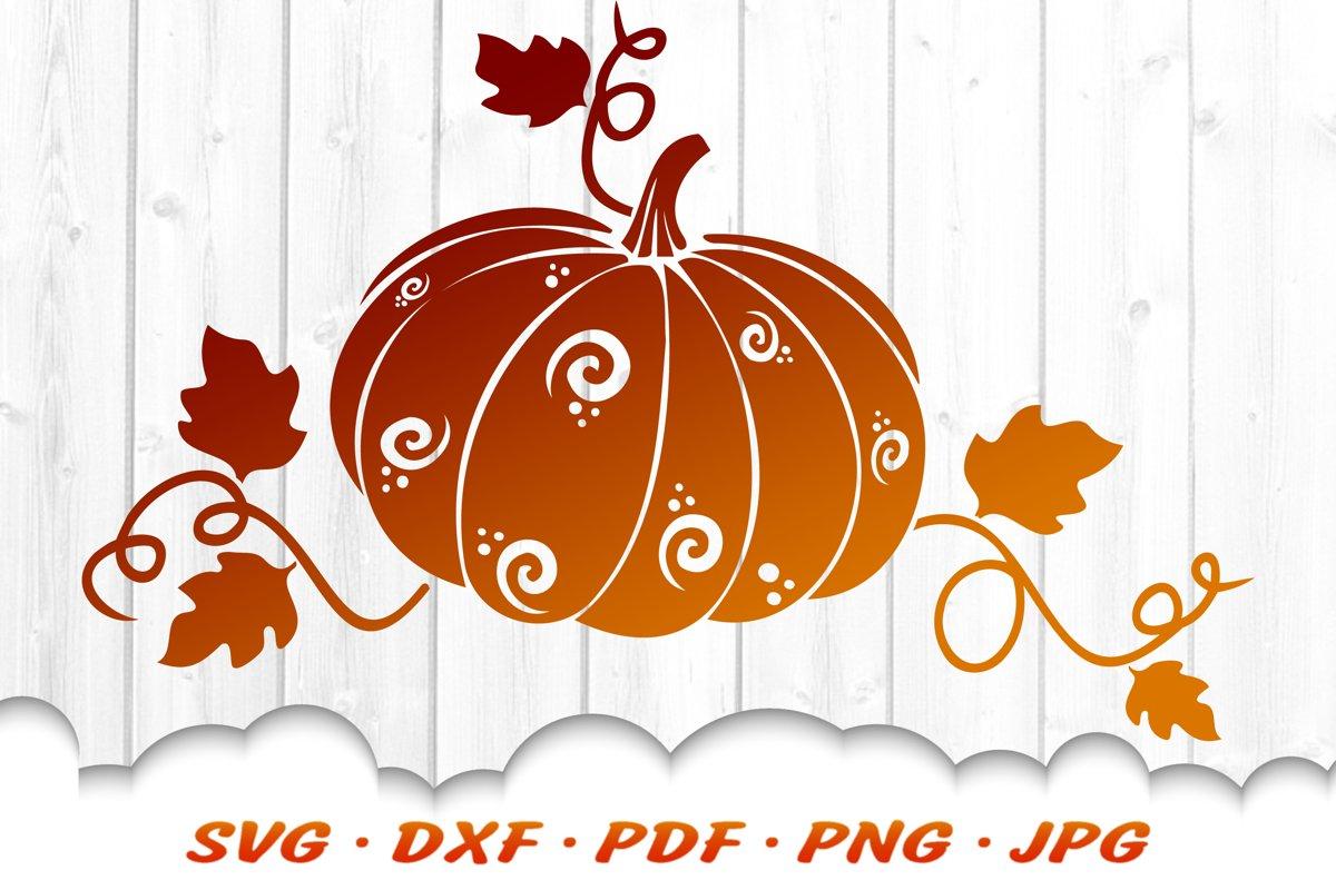 Fancy Fall Pumpkin SVG DXF Cut Files example image 1