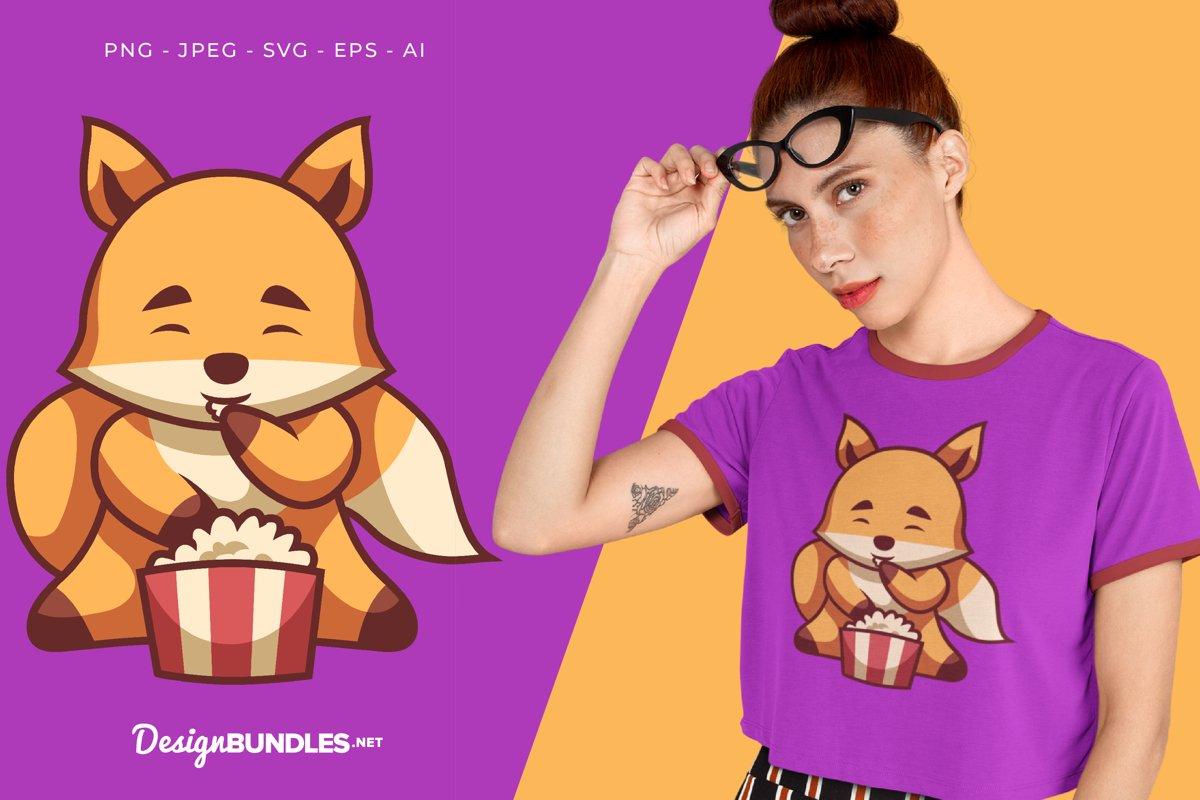 Fox Eats Popcorn Vector Illustration For T-Shirt Design example image 1