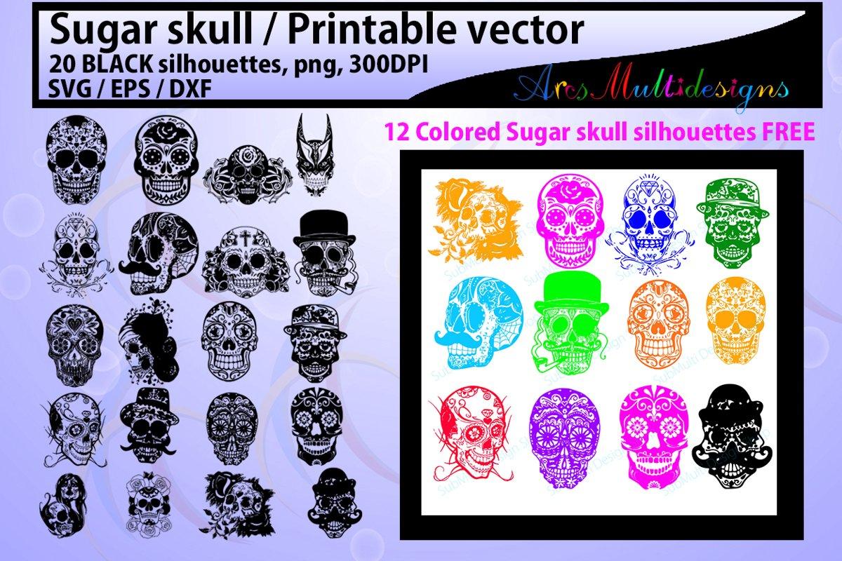sugar skull silhouette / 20 sugar skull / sugar skull SVG example image 1