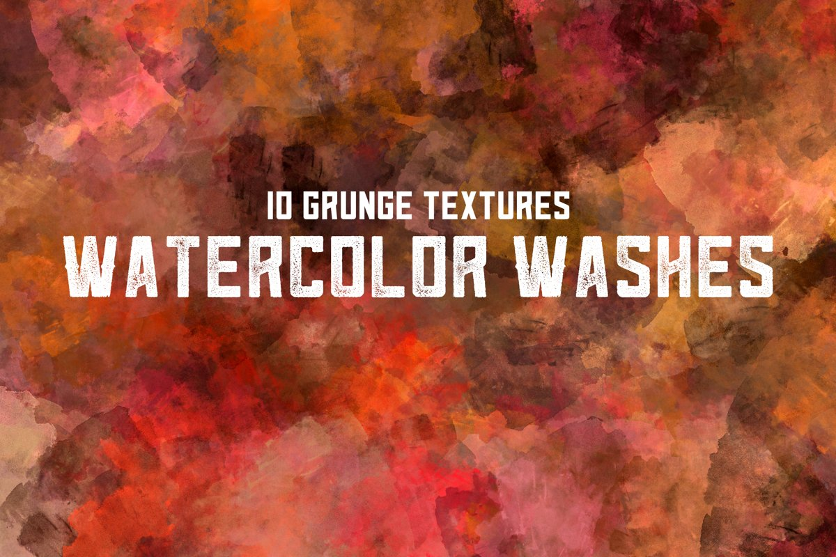 10 Grunge Watercolor Washes Textures example image 1