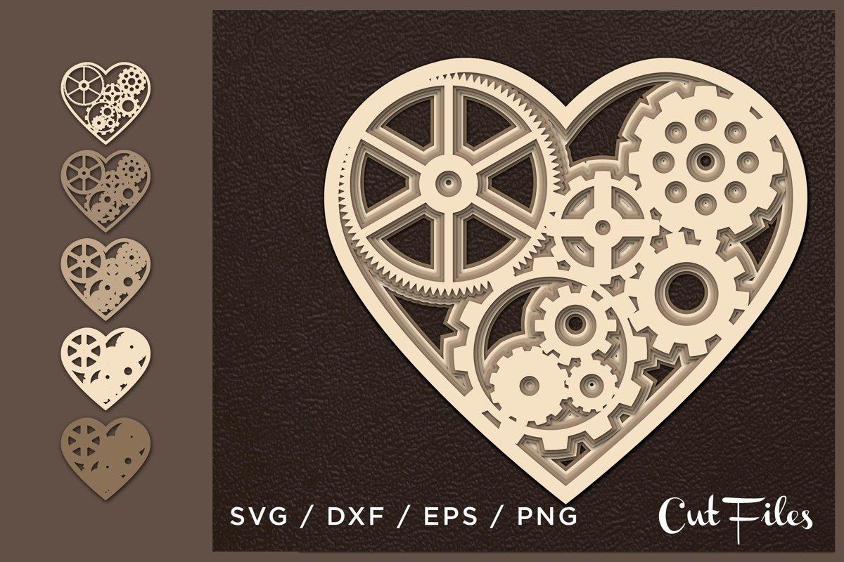 Heart SVG, Cut file Heart, Cut multilayer, 3D, Gears heart example image 1