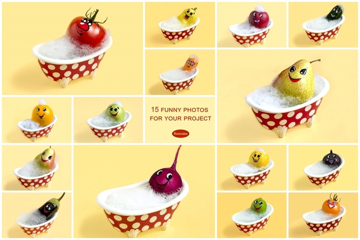 Fruits and vegetables in bath with soapy foam example image 1