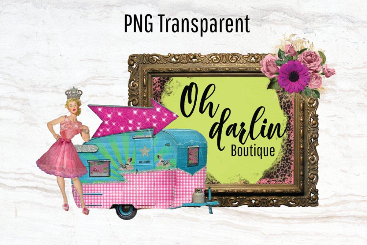 Vintage Camper, Logo Template, Pinup Girl, Trailer, Png example image 1