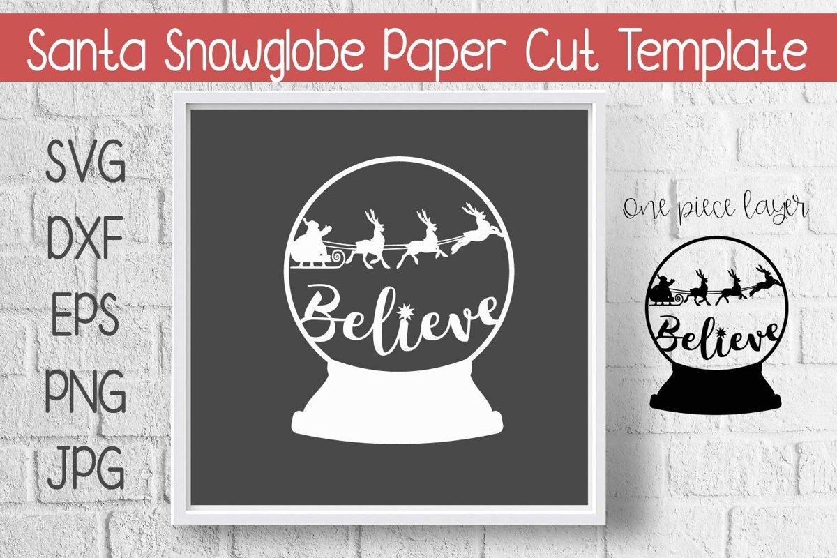 Santa Snow Globe Paper Cut Template Design SVG example image 1