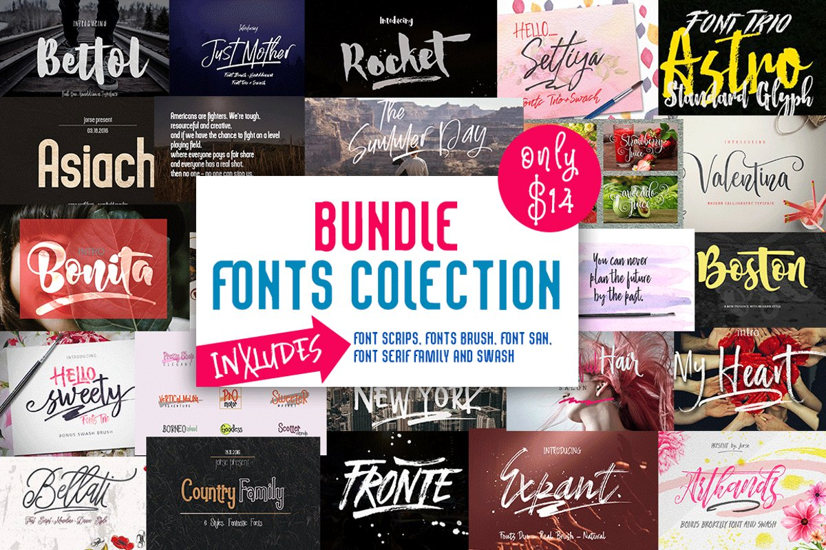 BUNDLE (Fonts Colection) example image 1