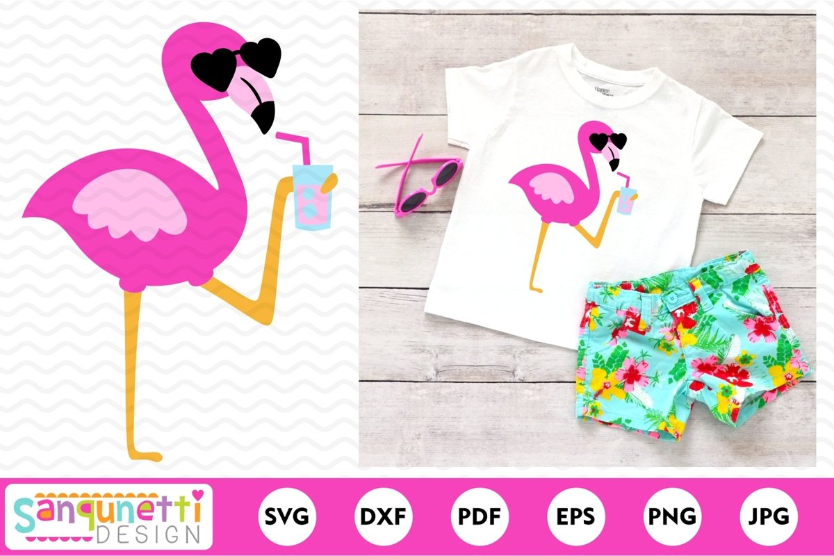 Flamingo SVG, pink flamingo summer cutting file example image 1