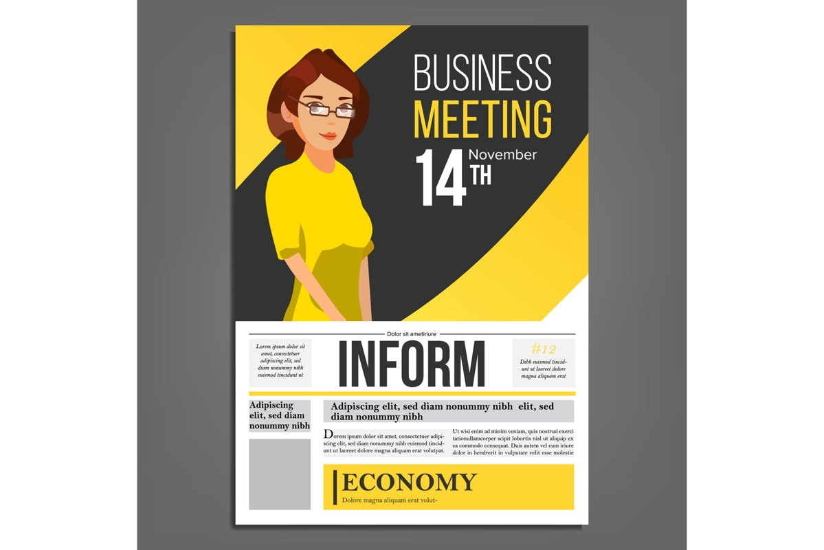 Business Meeting Poster Vector. Business Woman. Layout. example image 1