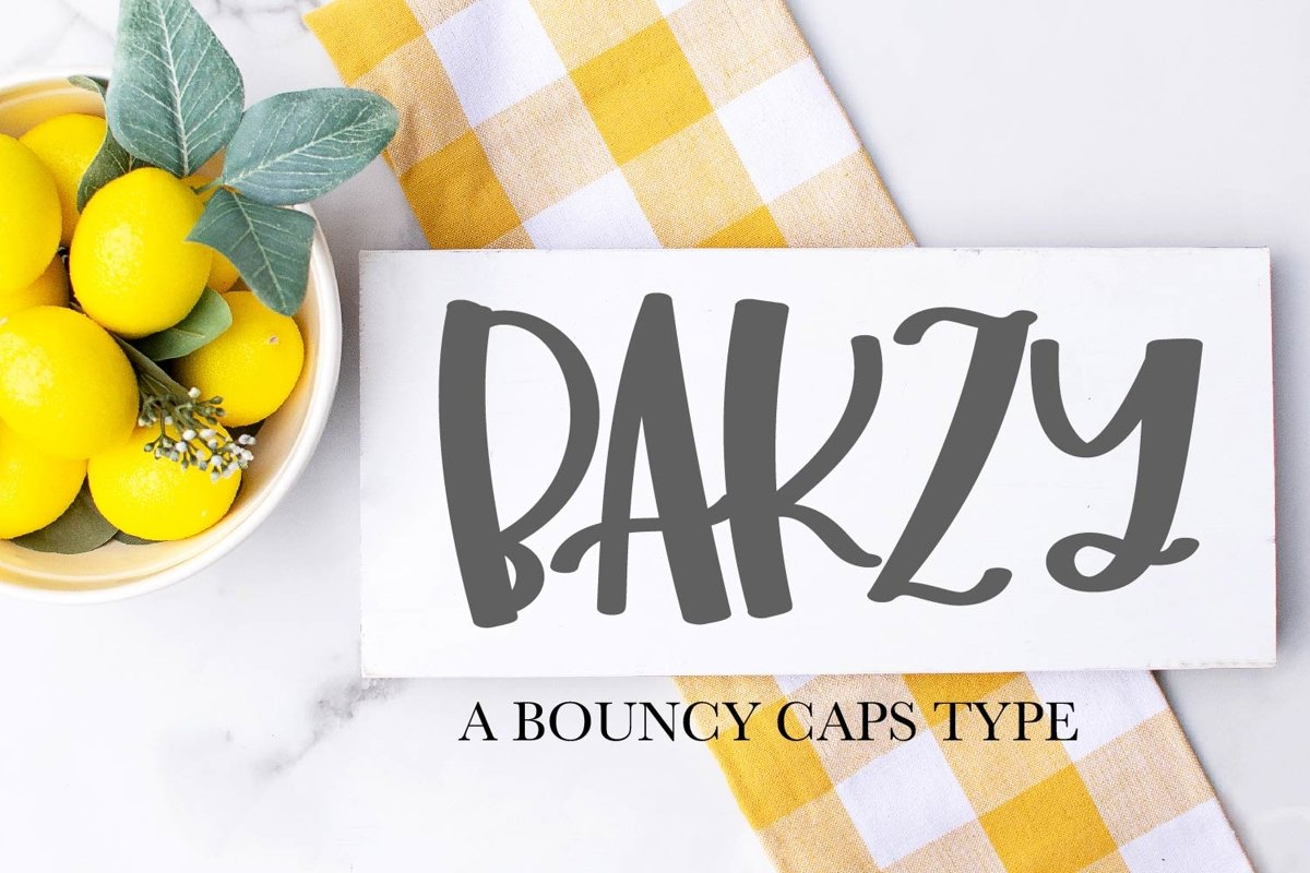Bakzy - A Bouncy All Caps Font example image 1