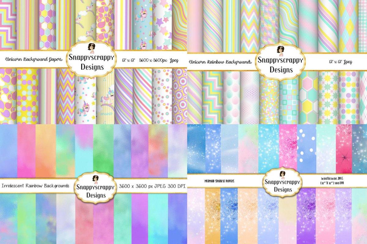 Rainbows & Iridescent Background Papers Bundle example image 1