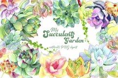 Succulent clipart / Watercolor succulent wreath / Floral png Product Image 1