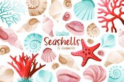 Seashells Watercolor Cliparts Product Image 1