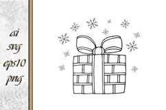 Doodle gift with bow Sketch vector Product Image 1