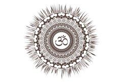 Mandala sun with oum Boho Sketch Product Image 2