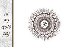 Mandala sun with oum Boho Sketch Product Image 1