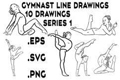 Gymnast Line Drawings Series 1 - Vector Line Graphics Product Image 1