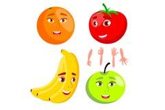 Smiling Orange, Tomato, Apple, Banana Product Image 1