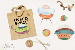 Spaceship Watercolor 11 Elements Space Planets Galaxy Product Image 2