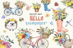 Summer Wildflowers Clipart Watercolor Floral Bicycle Bee Product Image 1