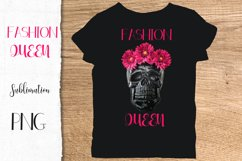Fashion Queen Sublimation PNG Black skull pink flowers Product Image 2
