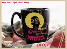 Black queens are born in November birthday t shirt design Product Image 2