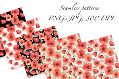 Red Poppies and Wild Grasses, Watercolor clip art, PNG, JPG Product Image 3