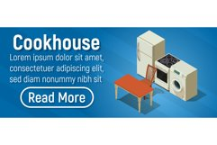 Cookhouse concept banner, isometric style Product Image 1