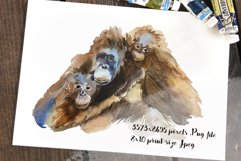 Mother and Babies Orangutans - Watercolor Print and Clip Art Product Image 2