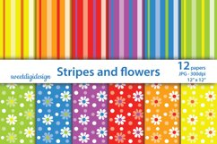 Flowers and stripes background, seamless pattern Product Image 1