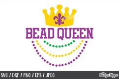 Bead Queen, Mardi Gras, Funny, SVG DXF PNG, Cricut Cut Files Product Image 1