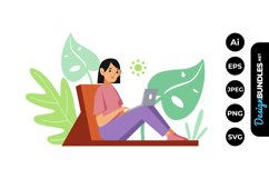 Woman Me Time Illustrations Product Image 1