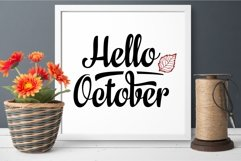 Hello October Lettering Phrase Text Graphic Product Image 3