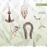 """Watercolor tribal clipart """"TRIBAL CLIP ART"""" dream catcher Product Image 2"""
