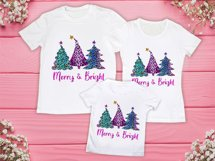 Christmas Trees Sublimation PNG,Merry Bright Christmas Trees Product Image 2