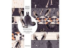 Halloween Fashion Black Dress Gold Jewelry Paper Pack Product Image 1