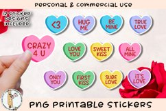 Conversation Hearts Stickers Printable PNG Product Image 1