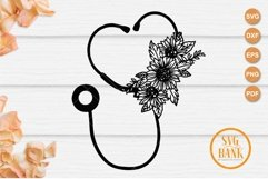 Sunflower Stethoscope svg, Floral Nurse SVG Product Image 2