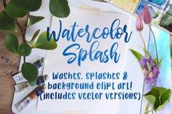 Watercolor Splash Clip Art, Vector Watercolor Backgrounds! Product Image 1