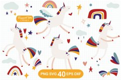 Unicorn and Rainbow Clipart, SVG, PNG, DXF, EPS Product Image 1
