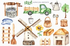 Farm Watercolor Clipart. Cards, frames, seamless patterns Product Image 6