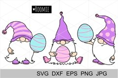 Happy Easter SVG gnomes with eggs. Silhouette, Cricut file Product Image 2